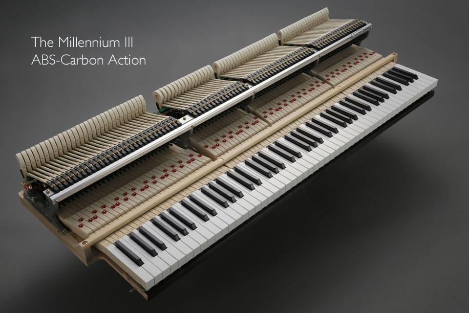 Ngay từ những ngày đầu những cây đàn piano của Kawai có bộ máy cơ làm từ gỗ và nó mang đến trải nghiệm chơi rất tốt. Vào những năm 80 cùa thế kỉ 20, Kawai cho ra mắt cỗ máy cơ thế hệ thứ 2 – Kawai ABS Action và nó càng tốt hơn nữa. Và giờ đây bạn có thể trải nghiệm bộ máy thế hệ thứ 3 của Kawai – Millennium III Action.  Bộ máy cơ Millennium III Action của Kawai  Hơn 1000 bộ phận được làm từ ABS-Carbon Bộ máy cơ Millennium III được trang bị các bộ phận làm từ ABS-Carbon, một vật liệu composite được tạo ra nhờ kết hợp sợi carbon vào vật liệu ABS Styran nổi tiếng của Kawai. ABS-Carbon cực kì cứng và bền bỉ, giúp giảm trọng lượng của những bộ phận mà không làm mất đi tính chắc chắn của bộ máy, với khả năng truyền lực cao giúp bộ máy hoạt động mạnh và nhanh mang lại khả năng kiểm soát tốt, mạnh mẽ và ổn định cao hơn so với các loại bộ máy cơ bằng gỗ thông thường.  Loại bỏ những rủi ro hư hỏng của bộ máy cơ bằng gỗ Gỗ là loại vật liệu lý tưởng để làm bảng cộng hưởng tạo nên âm sắc của đàn, nhưng lại không phù hợp với nhiều thành phần cơ học trong bộ máy cơ. Trên thực tế, gỗ dễ bị nứt gãy bởi các tác động thường xuyên liên tục, cũng như dễ bị co lại và giãn nở đột ngột khi dưới tác động của thời tiết. Sự bất ổn vốn có của các bộ phận bằng gỗ có thể gây ảnh hưởng đến âm sắc và việc ấn phím đàn, dẫn đến chi phí sửa chữa và bảo trì đắt đỏ. Loại bỏ được 1068 chi tiết được làm bằng gỗ trong bộ máy cơ Millennium III tức là Kawai đã loại bỏ được 1068 rủi ro hư hỏng có thể xảy đến với cây đàn piano.   Bộ máy cơ Millennium III của đàn piano Kawai     Sự cải tiến mang tính đột phá so với bộ máy cơ Millennium II - Sợi Carbon Sợi carbon được xem là vật liệu nhẹ nhất nhưng mạnh mẽ nhất hiện nay. Sự kết hợp của chất liệu Carbon trong bộ máy cơ Millenium III của đàn piano Kawai đã mang đến thiết kế nhẹ hơn giúp bộ máy trở nên nhanh nhạy và dễ dàng hơn khi người chơi lướt phím đàn, đồng thời duy trì âm sắc đặc biệt ổn định. Đặc tính cứng của ABS-Carbon cũng mang đến cho người chơi đàn nhi